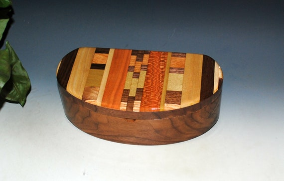 Wooden Box With Lift Out Tray - Kidney Shaped Box of Walnut With Upcycled Wood Cutting Board Accent