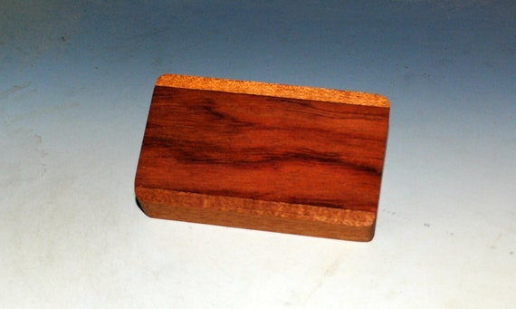 Slide Top Small Wood Box of Mahogany With Bubinga - USA Made by BurlWoodBox With a Food Safe Finish