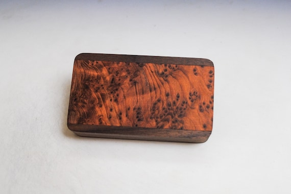 Slide Top Small Wood Box of Walnut With Redwood Burl - Handmade in the USA  by BurlWoodBox With a Food Safe Finish