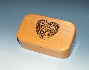 Wooden Box With Engraved Tree of Life as a Heart of Alder - Handmade by BurlWoodBox - Sacred Tree
