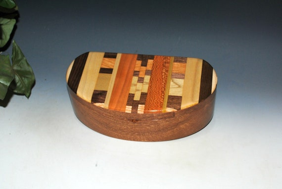 Wooden Box With Lift Out Tray - Kidney Shaped Box of Mahogany With Upcycled Wood Cutting Board Accent