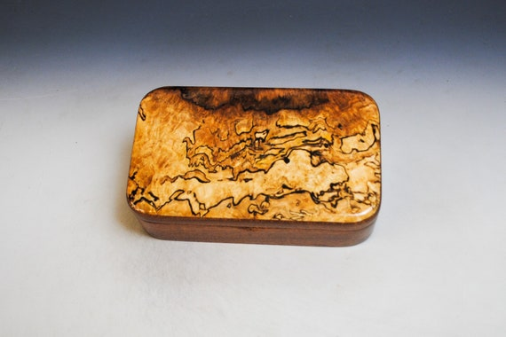 Wooden Treasure Box of Mahogany & Spalted Maple - Handmade in The USA by BurlWoodBox - Small Jewelry Box