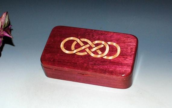 Wooden Keepsake Box of Purple Heart With Inlaid Maple Double Infinity - Handmade Small Jewelry Box