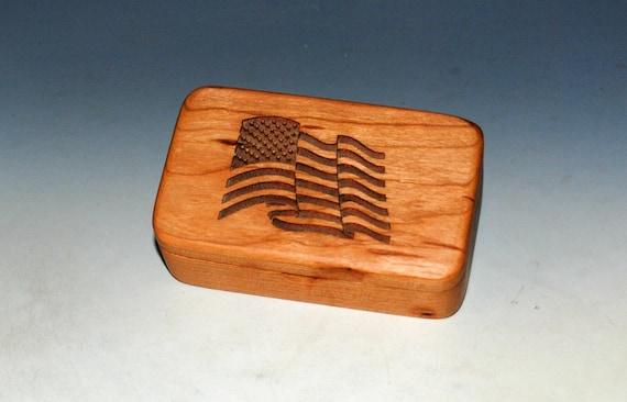 Wood Box With a US Flag on Cherry - Waving Flag Box With Food Safe Finish - Keepsake Box, Small Stash Box