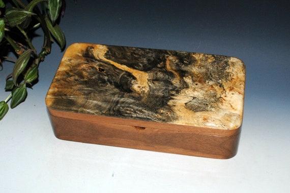 Handmade Wood Box With a Tray That Slides - Buckeye Burl on Walnut - Great Guy Choice - Stash Box, Jewelry Box, Wooden Jewelry Box Tray