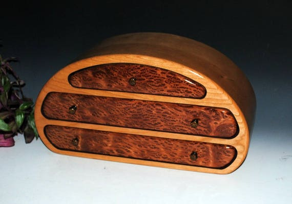 Wooden Jewelry Box of Redwood Burl on Cherry in Our Nadia Style - Handmade Wood Jewelry Box With Drawers by BurlWoodBox - Hierloom Gift