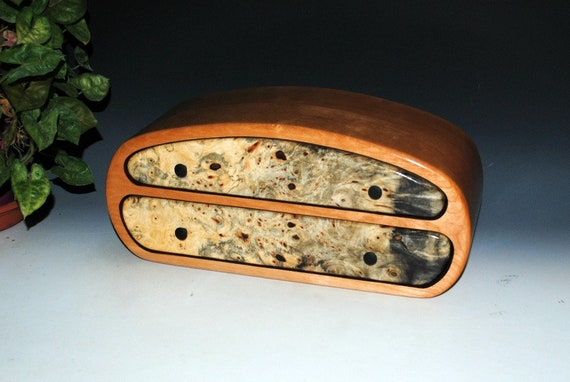 Handmade Men's Wood Jewelry Box or Valet Box of Buckeye Burl on Cherry-USA Made by BurlWoodBox Handmade Wood Jewelry Box, Wooden Storage Box