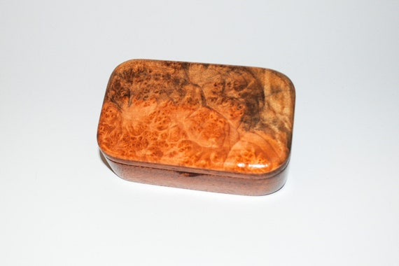 Wooden Trinket Box of Maple Burl on Mahogany - Handmade in the USA by BurlWoodBox