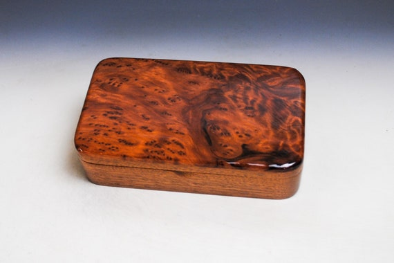 Wooden Box of Redwood Burl on Mahogany - Handmade Wood Box by BurlWoodBox - Boxes are Unique Gifts !