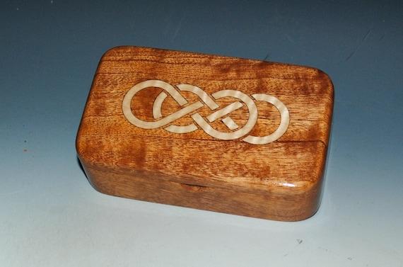 Handmade Wooden Box - Double Infinity Box Inlaid Maple & Mahogany - Wood Box, Gift Box, Jewelry Box, Celtic Knot Box - Infinity Symbol