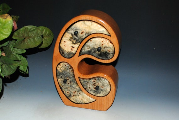 Wood Jewelry Box in Our Madonna Style of Buckeye Burl on Cherry by BurlWoodBox