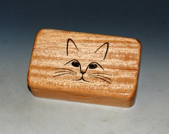 Small Wood Box With a Cat on Mahogany -  A Purrfect Gift for a Cat Mom, Cat Dad or Your Vet ! Cute Cat Face Box