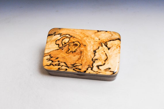 Very Small Wooden Box of Walnut With Spalted Maple Handmade by BurlWoodBox in the USA