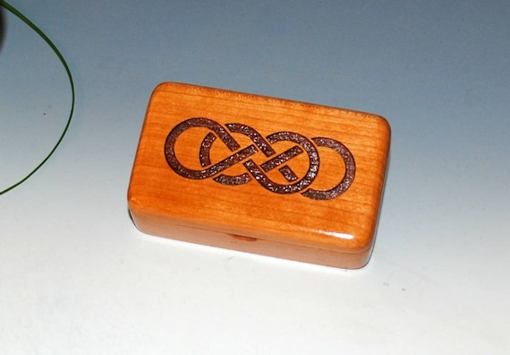 Small Wooden Box With Engraved Double Infinity on Cherry -  Handmade Wood Box by BurlWoodBox