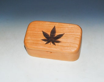 Cannabis Leaf Engraved Wooden Trinket Box of Cherry With Food Grade Finish by BurlWoodBox