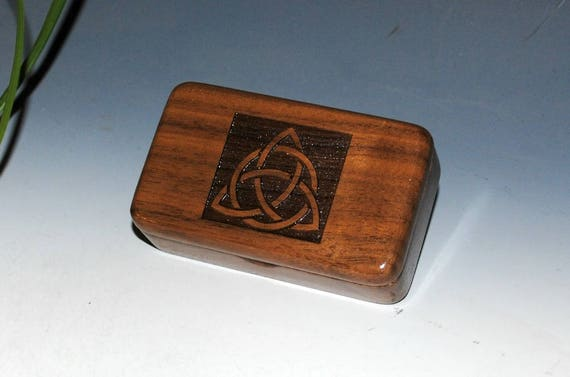 Wooden Box With Triquetra Engraved on Small Walnut Box - Trinity Knot or Celtic Triangle Wood Box by BurlWoodBox