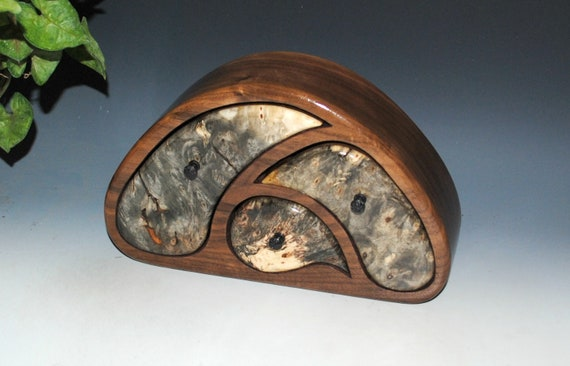 Handmade Wooden Jewelry Box in Our TriOval Style of Buckeye Burl on Walnut - Great Guy Gift !