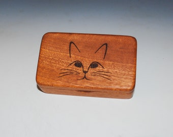 Wooden Box With Cat Engraved on Mahogany - Handmade Small Wood Box With Food Grade Finish - Small Gift or Present