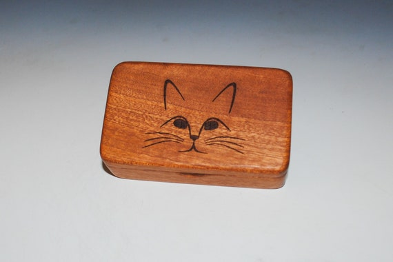 Small Wooden Box With Cat Engraved on Mahogany - Handmade Tiny Wood Box With Food Grade Finish - Small Gift or Present