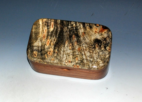 Wooden Trinket Box of Buckeye Burl & Walnut - Handmade in the USA by BurlWoodBox - Great Gift For Any Special Occasion