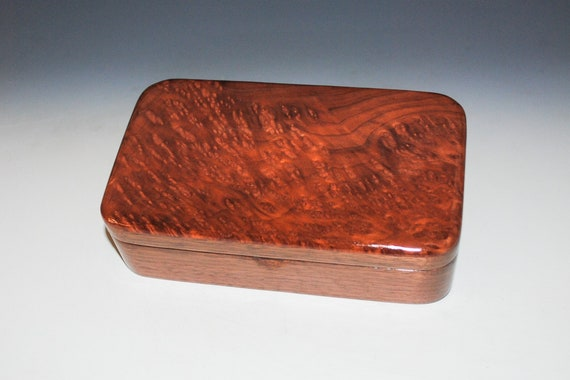 Wooden Box With Hinged Lid of Redwood Burl on Walnut - Handmade Wood Small Stash Box By BurlWoodBox - Unique USA Made Gift !