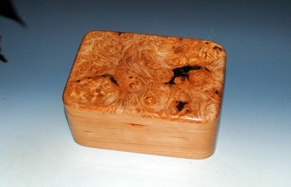 Wooden Box With Tray - Hinged Lid - Maple Burl on Cherry by BurlWoodBox