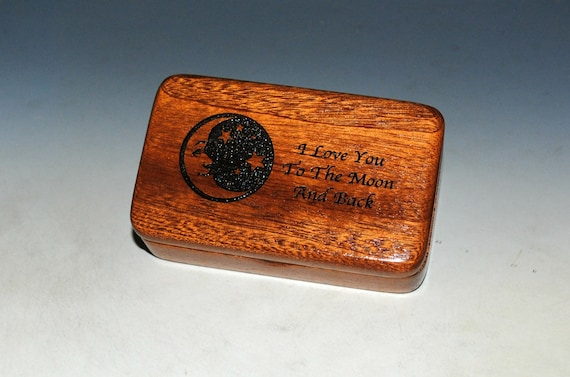 Wooden Box With I Love You To The Moon & Back on Mahogany by BurlWoodBox With a Crescent Moon and Stars - USA Made Gift