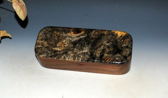 Wooden Pen Box of Buckeye Burl on Walnut - Handmade in the USA by BurlWoodBox - Unique Gift !