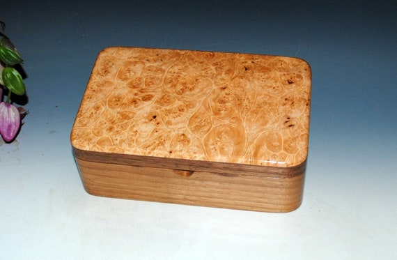 Handmade Wood Stash Box - Walnut & Maple Burl - Keepsake Box, Jewelry Box or Desk Box - Handmade Box by BurlWoodBox, Wooden Box, Stotage Box