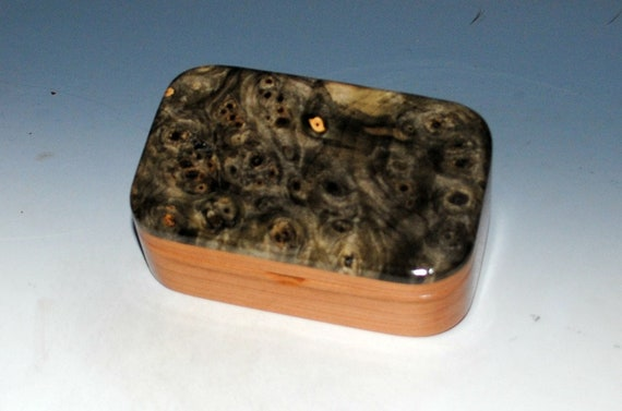 Wooden Trinket Box - Wood Box of Buckeye Burl on Cherry - Desk Box, Gift Box, Business Card Box - Handmade Box, Jewelry Box, Box With Lid