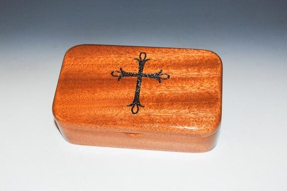 Cross Engraved Mahogany Wood Treasure Box - Handmade Wooden Box Made in the USA by BurlWoodbox, Religious Gift