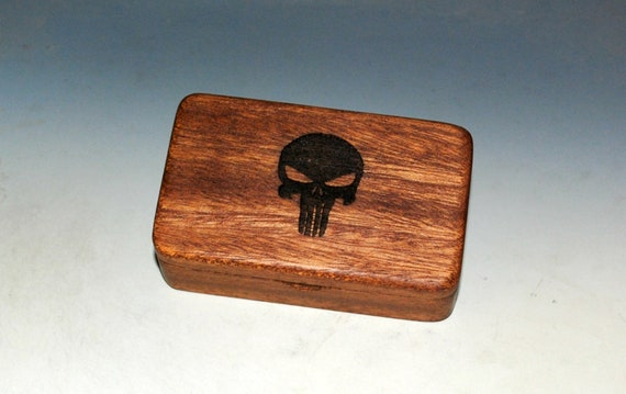Small Wooden Box With a Punisher Engraving on Mahogany -  Handmade Tiny Wood Box With Food Grade Finish