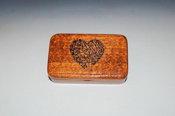 Tree of Life Heart Box Small Wooden Box of Mahogany - Handmade Tiny Wood Box By BurlWoodBox - Great for a Small Gifts