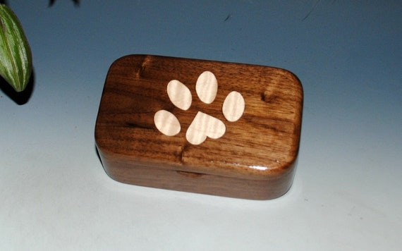 Pet Paw Print Wooden Box With a Curly Maple Inlay & Walnut - Handmade by BurlWoodBox - A Perfect Gift For The Pet Person or Your Vet !