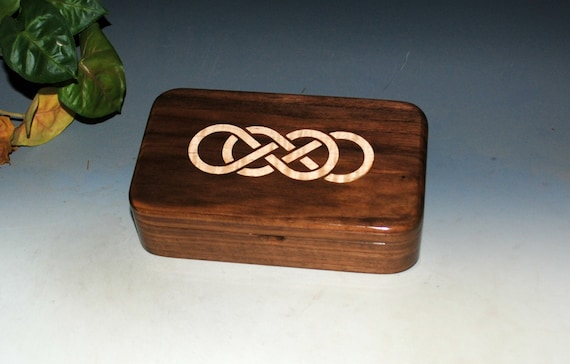 Wood Box With Double Infinity Inlay of Maple on Walnut - Stash or Jewelry Box - USA Made by BurlWoodBox