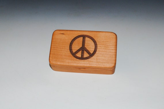 Small Wooden Box With Peace Sign Engraved on Cherry Handmade in USA With Food Grade Finish - Spiritual Gift