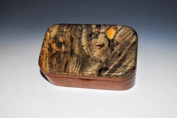 Wooden Trinket Box of Buckeye Burl on Mahogany  - Handmade Box With Lid by BurlWoodBox - USA Made Unique Gift