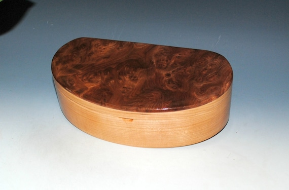 Handmade Wooden Box - Kidney Shaped in Redwood Burl on Cherry - USA Made by BurlWoodBox