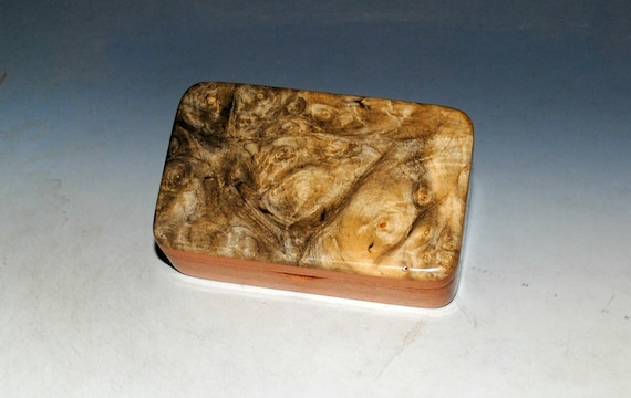 Very Small Wooden Box of Cherry & Buckeye Burl Handmade in the USA by BurlWoodBox - Perfect For a Small Gift