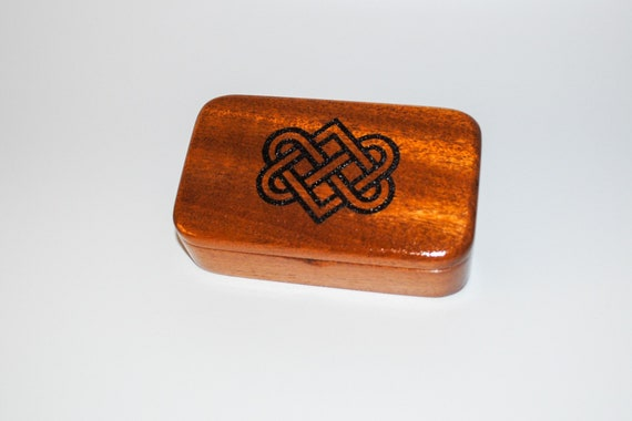 Celtic Love or Wedding Heart Engraved Wooden Treasure Box of Mahogany by BurlWoodBox - A Handmade box with a bit of love and symbolism