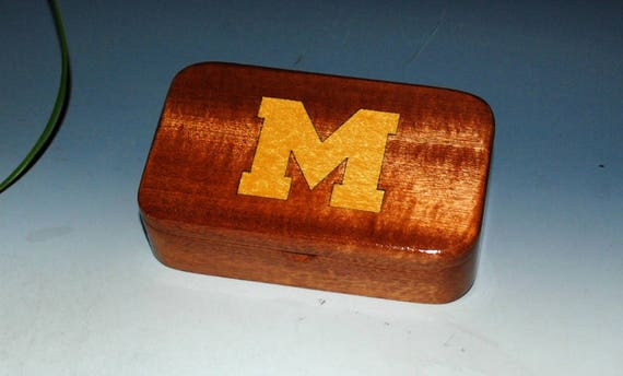 Wooden Box With University of Michigan M Inlay in Mahogany - Great Gift For a Graduate or Alumuni