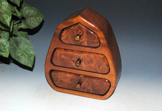 Wooden Jewelry Box of Redwood Burl And Mahogany in Our Pod Style - Handmade Wood Jewelry With Drawers by BurlWoodBox - Art With Function !