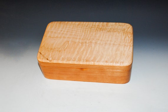 Wooden Stash Box of Cherry and Curly Maple - Handmade Wood Box With Hinged Lid by BurlWoodBox - Storage for Jewelry, Treasures or  Keepsakes