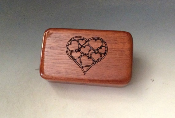 Small Wooden Box With Engraved Hearts of Mahogany - Handmade in The USA by BurlWodBox - Perfect For USB Thumb Drives  - SALE