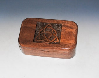Wooden Box with Engraved Triquetra of Walnut - Handmade Wood Trinket Box By BurlWood Box - Trinity Knot