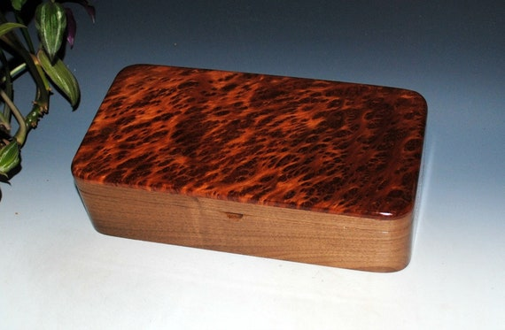 Handmade Wood Box With Tray of Redwood Burl on Walnut - Great Guy Choice - Hinged Lid Wooden Box by BurlWoodBox