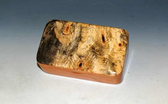 Small Wooden Box of Cherry & Buckeye Burl Handmade in the USA by BurlWoodBox - Great Gift !