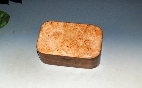 Wood Trinket Box of Maple Burl on Walnut - Handmade Wooden Box With Hinged Lid by BurlWoodox - Boxes Are Great Gifts !