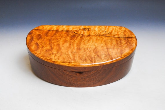 Handmade Wooden Box, Wood Jewely Box- Spalted Quilted Maple on Mahogany-Wooden Jewelry Box,Wood Stash Box,Wood Box With Tray, Handmade Boxes