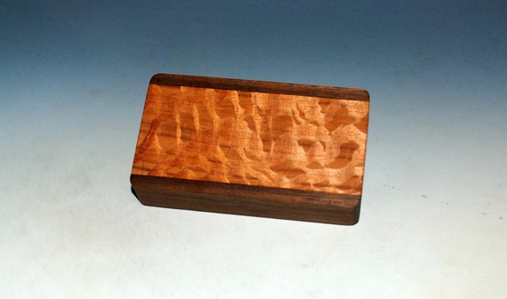 Slide Top Small Wood Box of Walnut With Lacewood - USA Made by BurlWoodBox With a Food Safe Finish